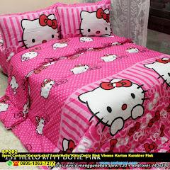 Sprei Custom Katun Lokal Anak Hello Kitty Dotty Pink Vienna Kartun Karakter Pink