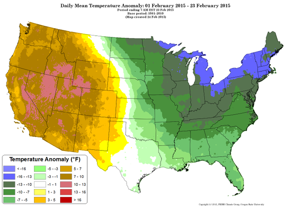 Temp extremes have been remarkable this month across the US. 10-13° warmer than normal across much of the West! (Credit: NWS Sacramento) Click to Enlarge.