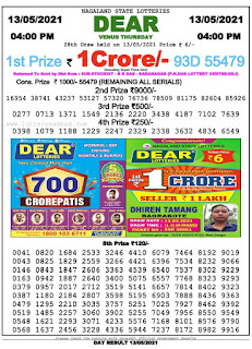 Nagaland State Lottery Result Today 4PM 13/05/2021