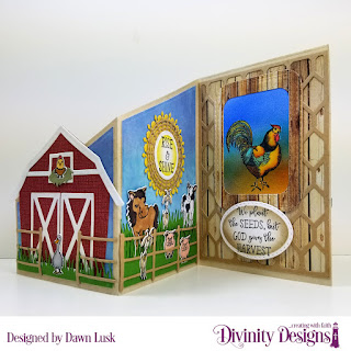 Stamp Set: Rise & Shine, Stamp/Die Duos: Farm Friends, Paper Collection: Weathered Wood, Custom Dies: Z Fold with Layers, Chicken Wire Background, Barn, Farm Fence, Double Stitched Ovals, Circles, Fancy Circles, Filigree Circles, Grass Border, Grass Lawn, Grass Hill, Double Stitched Rounded Rectangles
