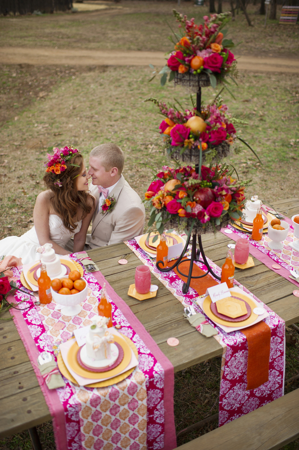 bride+groom+boho+bohemian+chic+orange+pink+yellow+rustic+valentine+valentines+day+february+winter+spring+wedding+cake+bouquet+petticoat+dress+gown+table+setting+floral+arrangement+centerpiece+tangerine+melissa+mccrotty+photography+10 - The Valentine Ombre