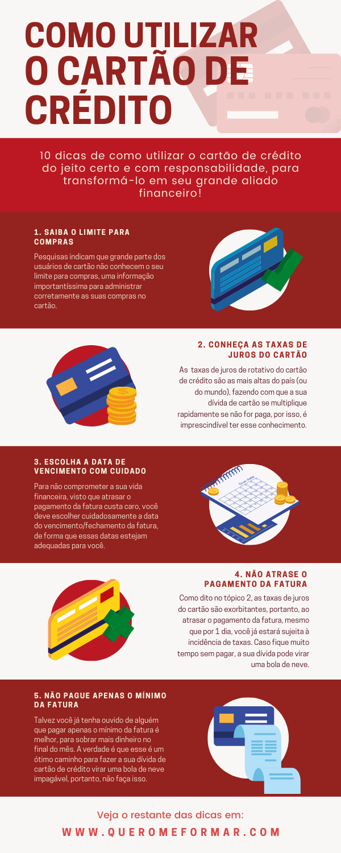 Infográfico para Pinterest sobre Como Utilizar o Cartão de Crédito do Jeito Certo e com Responsabilidade
