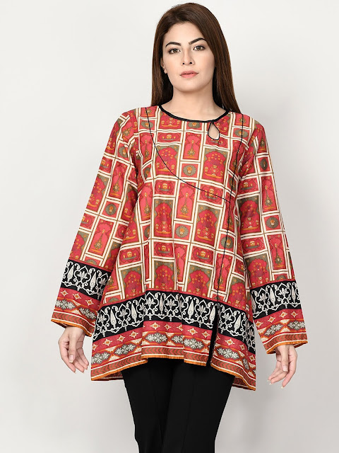 Limelight winter ready to wear Red Printed kurti