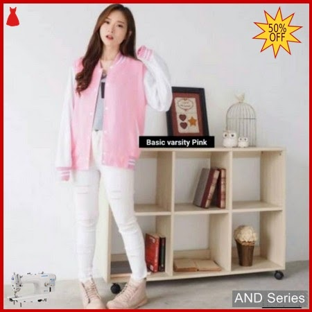 AND434 Jaket Wanita Basic Varsity Pink Jacket BMGShop