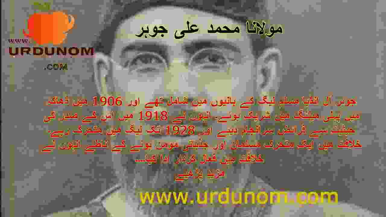 مولانا محمد علی جوہر تاریخ اردو میں   Maulana Muhammad Ali Johar History in Urdu
