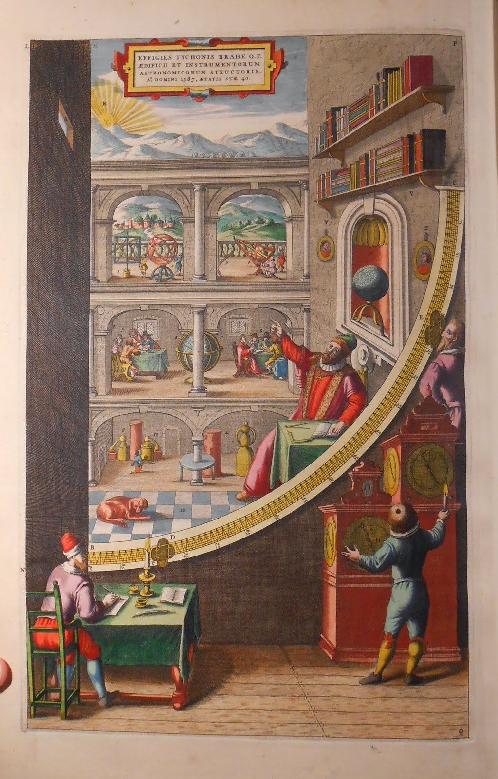 An illustration of the interior, filled with people engaged in various activities.