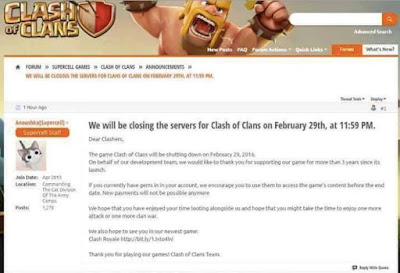 Game Clash Of Clans Akan Ditutup 29 Februari 2016?