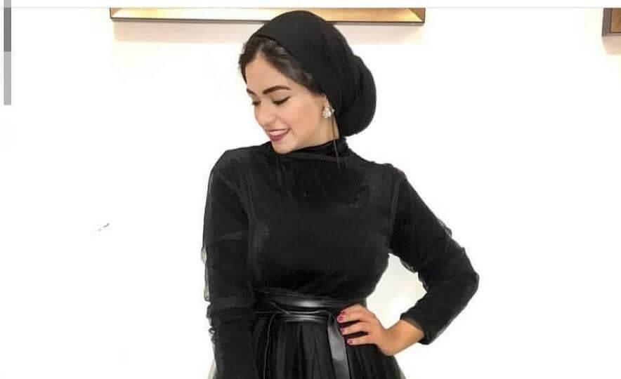 A black evening dress for veiled women
