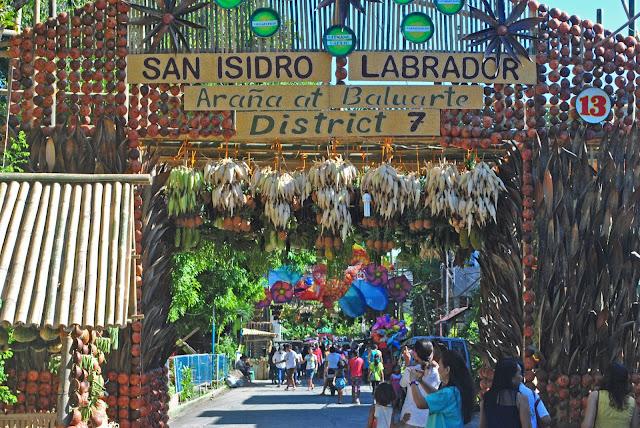 Richly decorated baluartes line the streets. Gumaca, Quezon