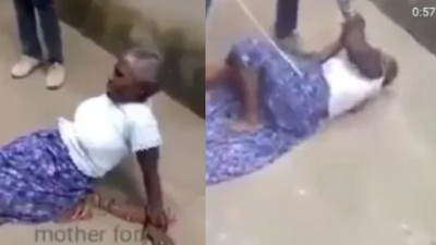 Man Brutally Flogs His Mother With A Cane For Quarrelling With His Wife (Video)