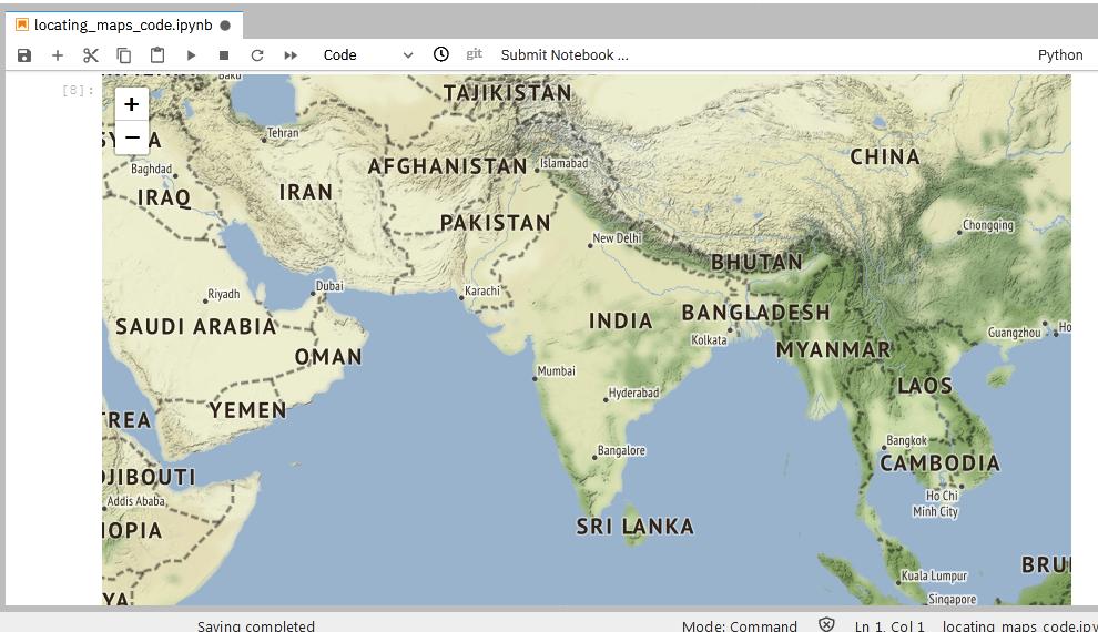 output of Stamen Terrain Map