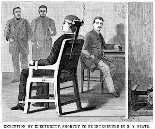 An etching or illustration for publication in black and white of a man seated in a chair with his head restrained, wires are coming from the chair and there are three men looking on, one of whom is holding a book and wearing a cross, another is seated and holding a switch.