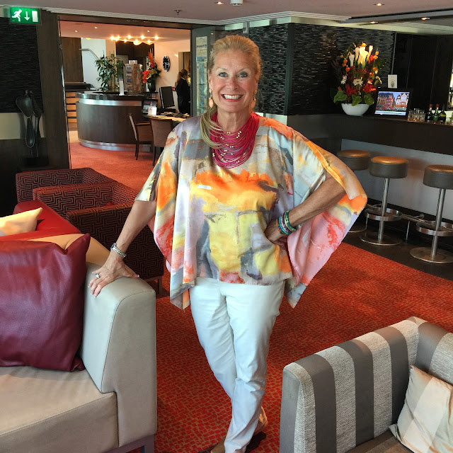 Robin LaMonte wears Chico's for the Captain's reception in the Avalon Lounge.