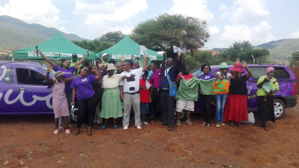 Staff at Mafefe Disability Organisation are thankful for a donation from Hollywoodbets