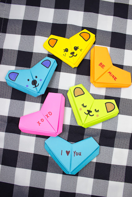 How to Fold Origami Bears and Conversation Hearts for a fun and easy kids Valentine's day craft