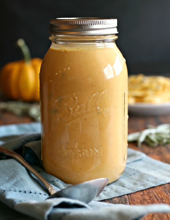 Recipe for a creamy sauce flavored with pumpkin puree, sage and smoked paprika.