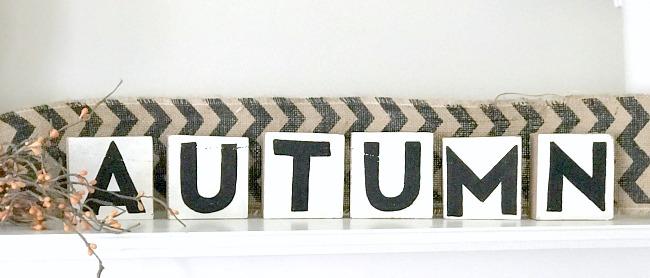 DIY Farmhouse Style Rustic Letter Blocks for the autumn mantel