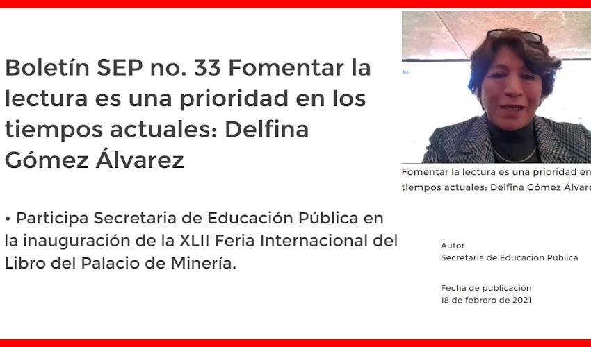 Boletín SEP no. 33 Fomentar la lectura es una prioridad en los tiempos actuales: Delfina Gómez Álvarez
