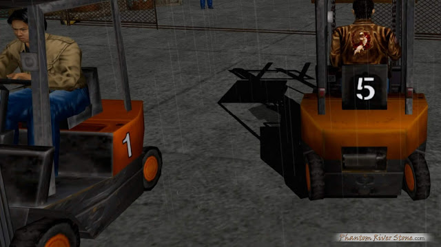 Hiroaki Takeuchi (left) is represented in-game in Shenmue I as a forklift operator at New Yokosuka Harbor
