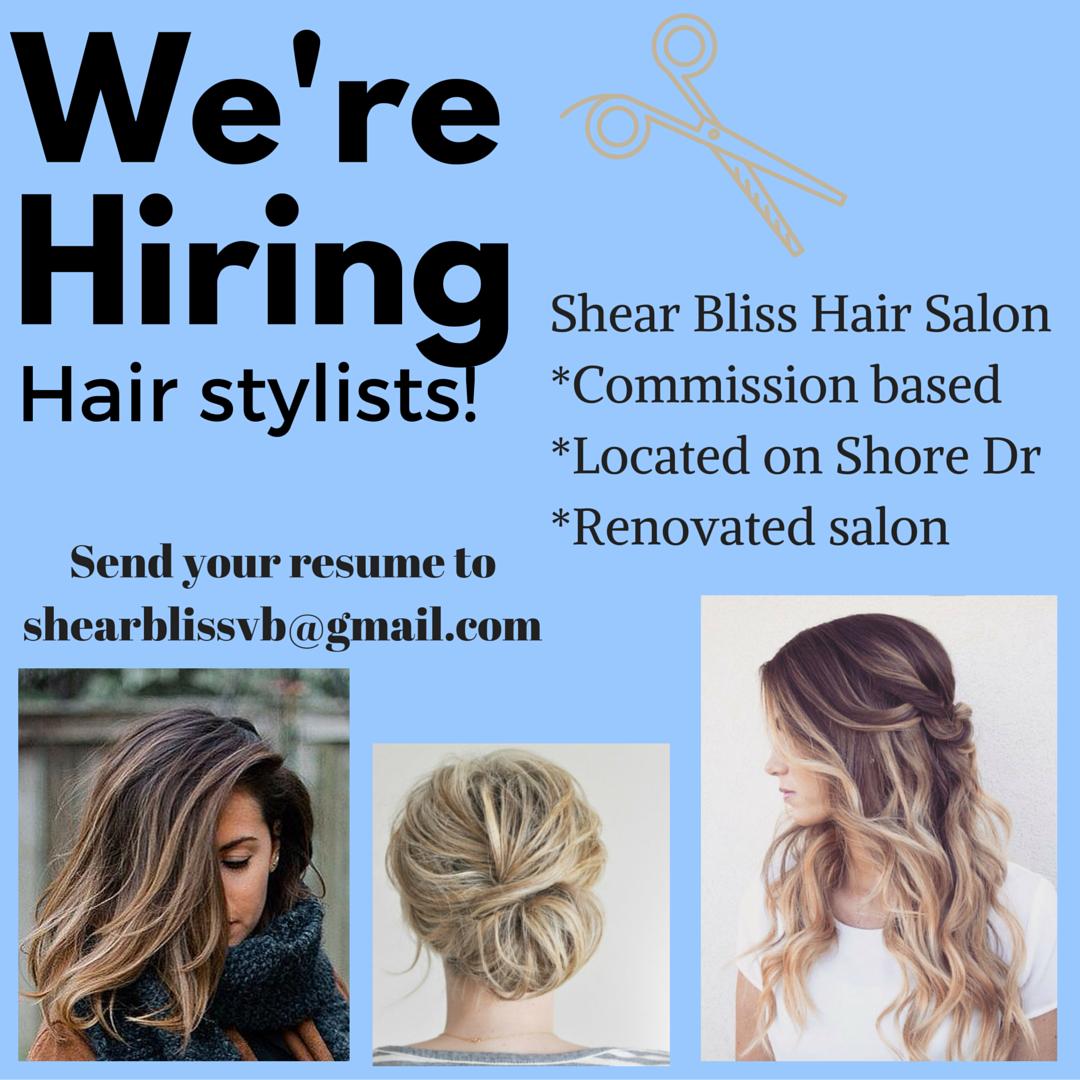 Shear Bliss Hair Salon Now Hiring Hair Stylist