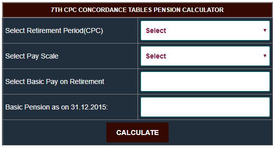 7th CPC Pension Calculator as per Concordance Tables for Pre-2016 Pensioners - CENTRAL ...