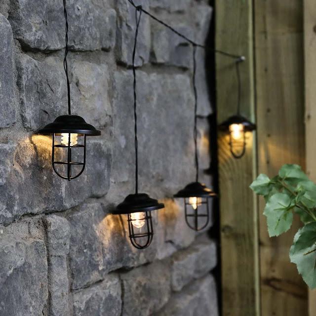 Outdoor Metal Plug In Lantern String Lights
