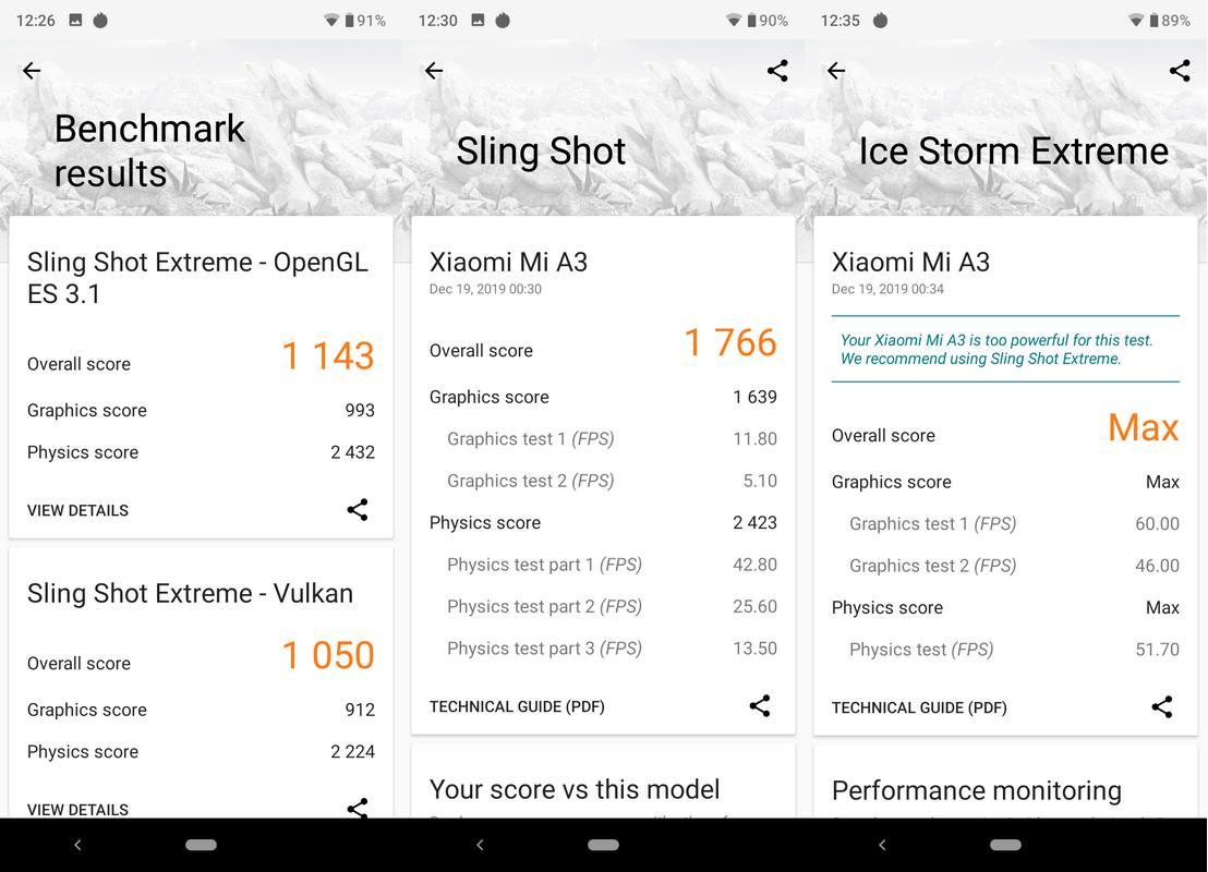 Benchmark 3DMark Xiaomi Mi A3