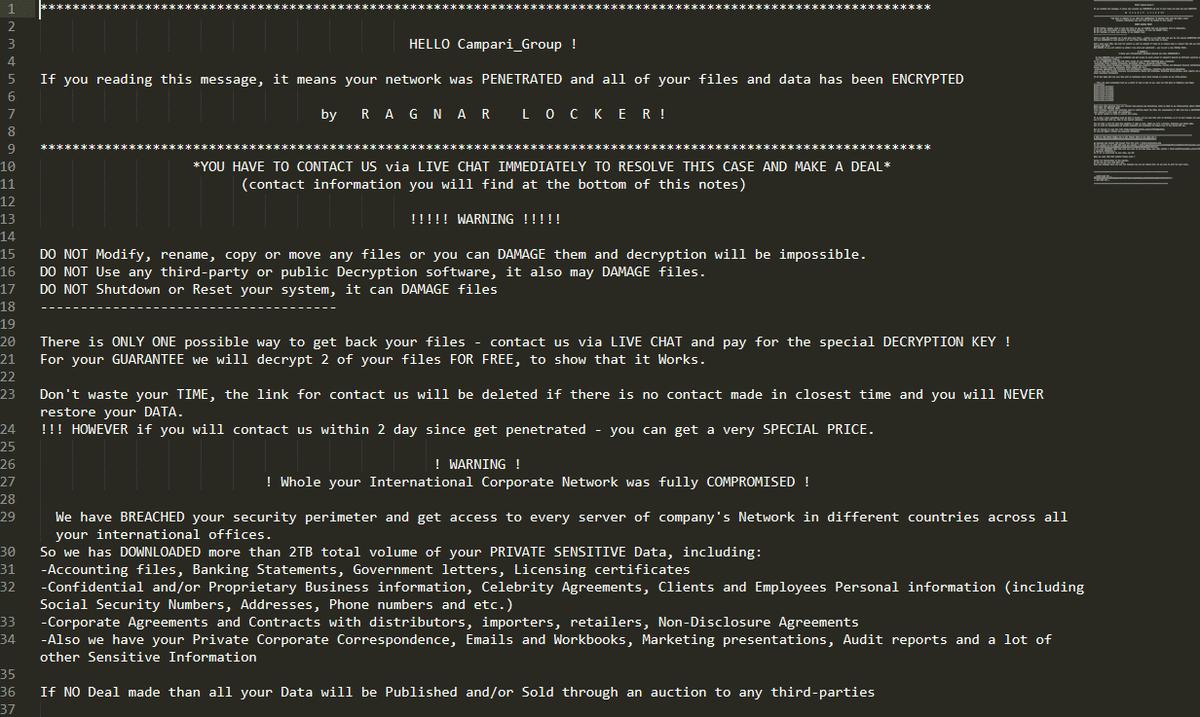 Campari Group è offline dopo un attacco hacker con richiesta di riscatto