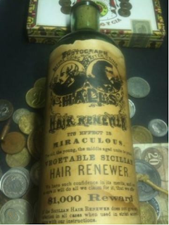 Kristin Holt | Victorian-Americans Cure Baldness and fight gray hair. Photo of Hall's Hair Renewer Vegetable Sicilian as sold by WorthPoint. Photo courtesy of Worthpoint. See link to sales page.
