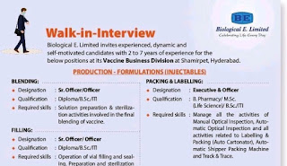 Biological E. Limited Walk-in-Interview For Diploma/ B. Sc/ ITI Candidates at Visakhapatnam,  Andhra Pradesh