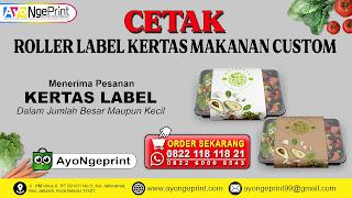 cetak Roller Label Kertas Penggulung Makanan Custom di Pameungpeuk, Bandung