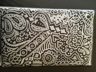 tablet cover silver black henna tattoo