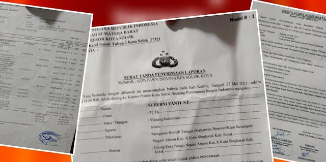 Direktur BUMNAG di Solok Diduga Mencuri Cek dan Cairkan Dana Nagari Rp246 Juta Lebih