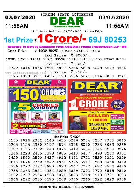 Sikkim State Lotteries 03-07-2020 Lottery Sambad Result 1155 AM