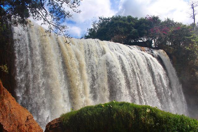 the strong cascades of Elephant waterfall near Da Lat, Vietnam