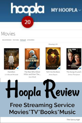 Collage of Hoopla features: credits, movies