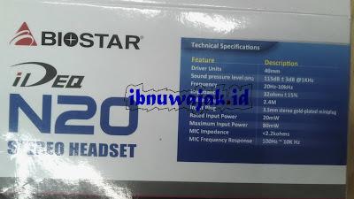 spesifikasi headset biostasr ideq N20