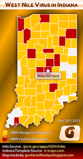 Indiana West Nile virus map, 2015 (Updated October 25th)