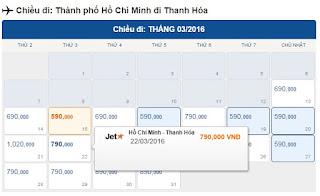 Giá vé máy bay Hồ Chí Minh đi Thanh Hóa tháng 3