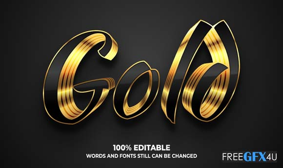 Gold Effect Text Collection Illustration