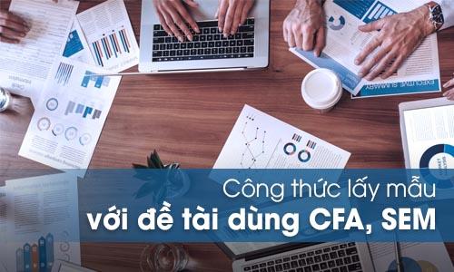 Công thức lấy mẫu của đề tài phân tích CFA, SEM trên AMOS