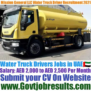 Mission General Services LLC Water Truck Driver Recruitment 2021-22