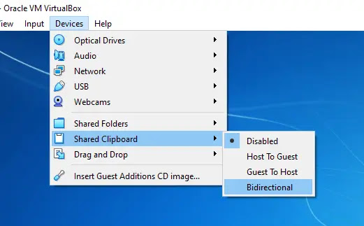 Shared Clipboard VboxGuest