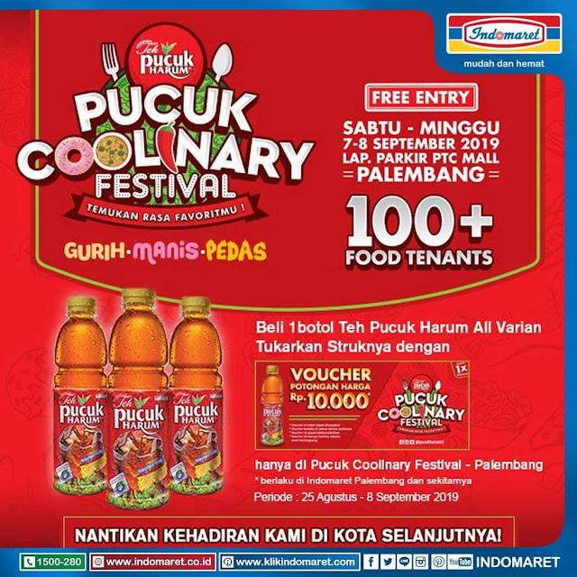 #Indomaret - #Gratis Voucher 10K tiap Beli 1 Botol Teh Pucuk di PUCUK Coolinary Festival (07 - 08 Sept 2019)