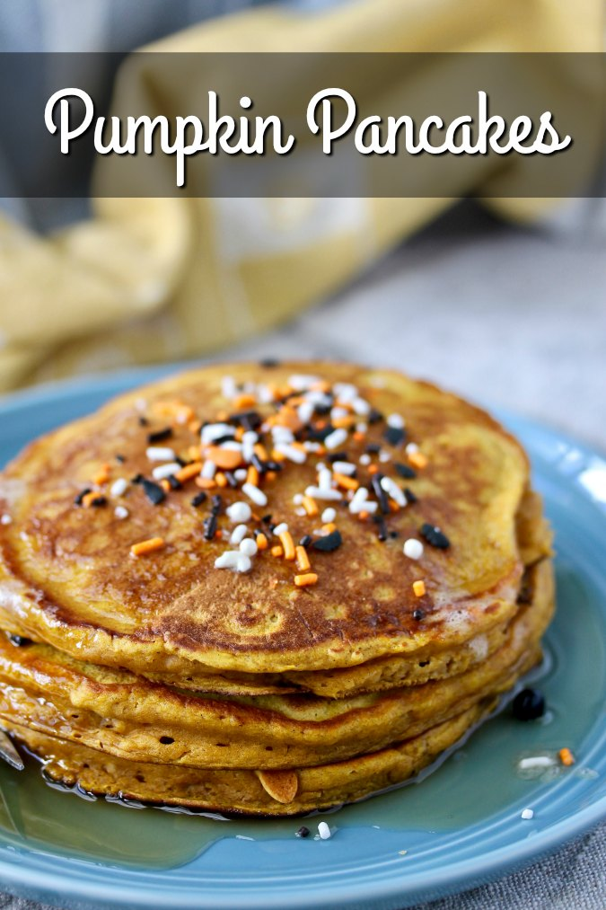 Pumpkin Pancakes recipe with Halloween sprinkles