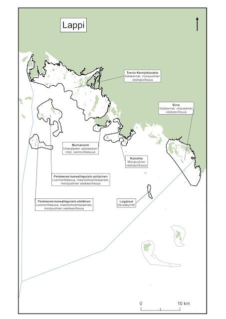 Kartta, johon on piirretty Perämeren pohjoisosan EMMA-alueet
