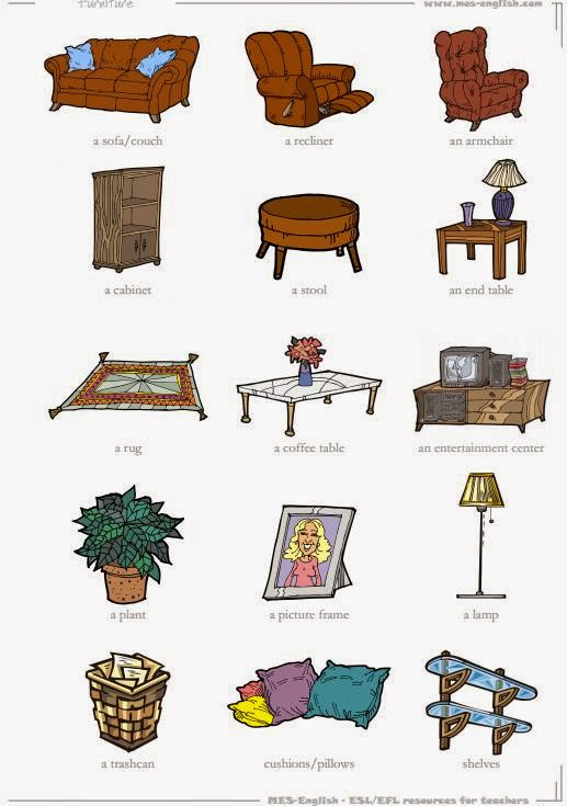 TUTTOPROF. Inglese: 15 Living Room objects flashcard