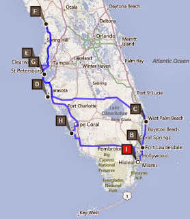 Reisroute mit Ziel in St Petersburg, Florida USA