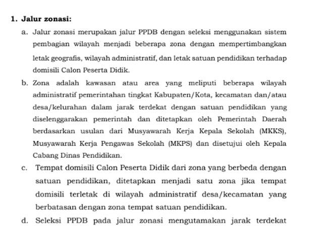 Ketentuan Jalur Zonasi PPDB SMA/SMK Jawa Barat Tahun 2020