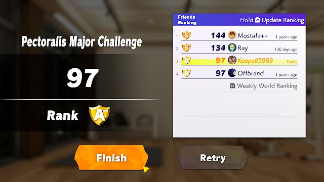 Ring Fit Adventure Pectoralis Major Challenge quick play simple ranking